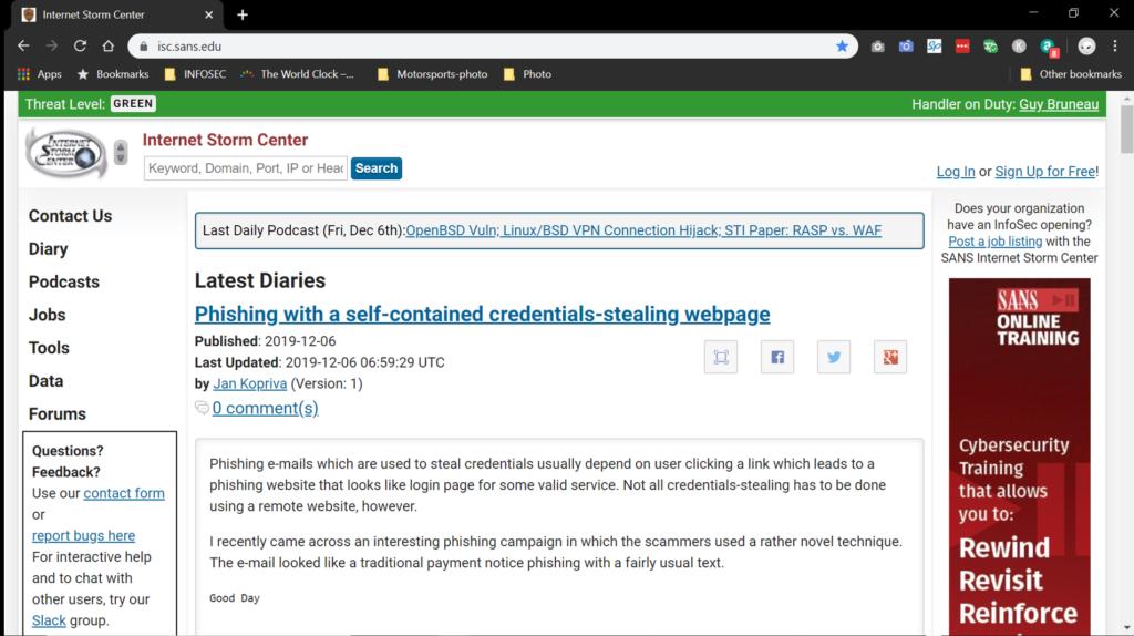 Screenshot of the Internet Storm Center  website
