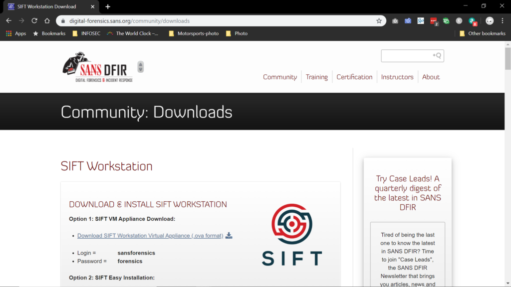 Screenshot of SANS SIFT download site.